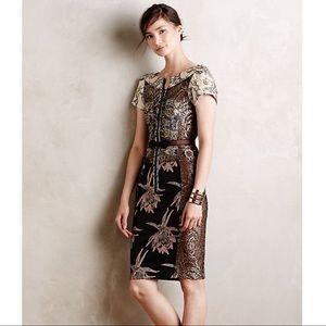 Anthropologie Byron Lars Embroidered Brocade Dress